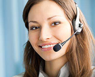smiling call center agent